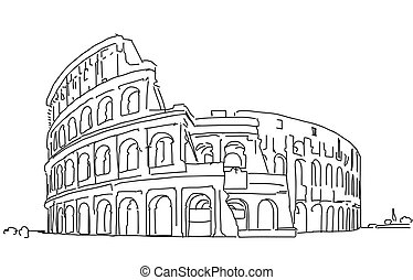 Rome Colosseum Clean Hand Dranw Sketch, Outline