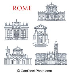 Rome landmark icons, travel famous sightseeing. Vector Italian Santa Maria della Vittoria and Andrea al Quirinale church, Basilica di San Giovanni in Laterano, Maria Maggiore and San Clemente