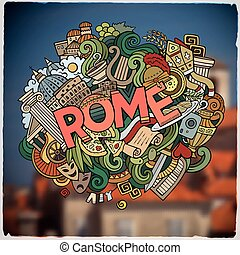 Rome hand lettering and doodles elements and symbols emblem