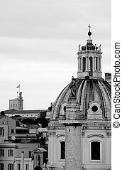 Rome in black and white - Rome with Colonna Traiana in the...