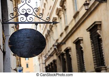 rome, italie, -, enseigne, dans, les, vieille ville