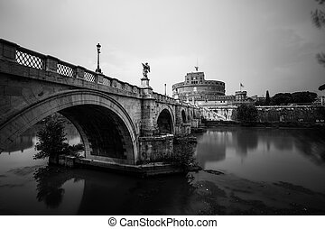 Rome, Italy - 2020. StAngelo Bridge without people.