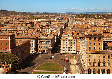 Rome, Italy - APRIL 11, 2017 : View from the balcony of the national monument a Vittorio Emanuele II, the museum complex on the Piazza Venezia