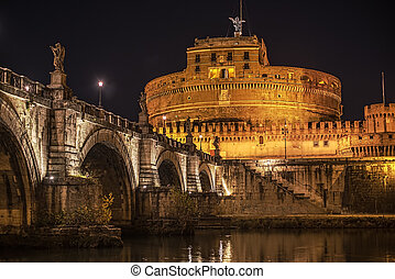 Rome, Italy: Castle of the Holy Angel at night