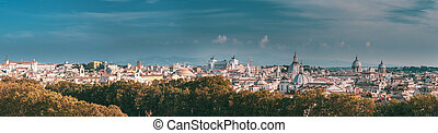 Rome, Italy. Cityscape Skyline With Famous Pantheon, Churches As Sant'agnese, Santa Maria Della Pace, St. Salvatore At The Laurels And Vittorio Emanuele II Monument Or Altar Of Fatherland. Panorama