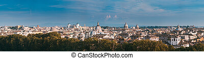 Rome, Italy. Cityscape Skyline With Pantheon, Altar Of The Fatherland And Other Famous Lanmarks In Old Historic Town