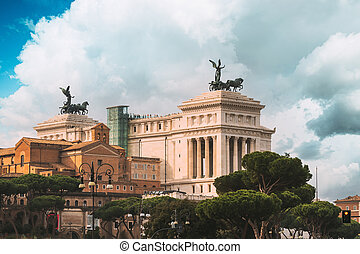 Rome, Italy. Famous Place - Altar Of The Fatherland On Piazza Venezia