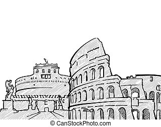 Rome, Italy famous Travel Sketch