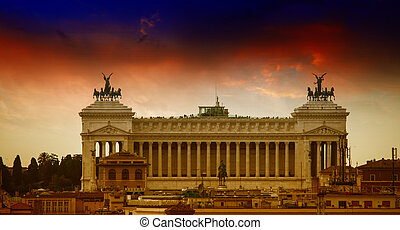 Rome, Italy. Famous Vittoriano with gigantic equestrian statue o