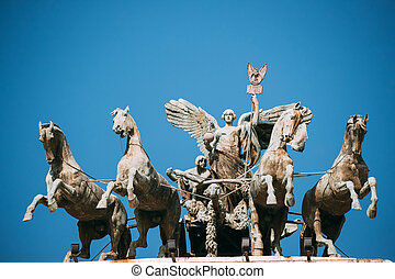 Rome, Italy. Great Bronze Quadriga On Summit Of Palace Of Justice.