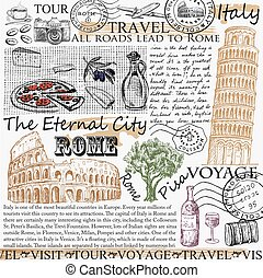 rome italy. hand drawing set of vector sketches