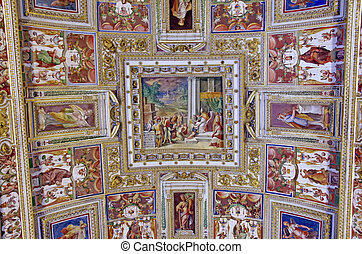 Ceiling details in Vatican Museum - ROME, ITALY - MARCH 08: ...