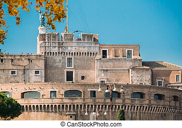 Rome, Italy. Mausoleum Of Hadrian Or Castle Of The Holy Angel.