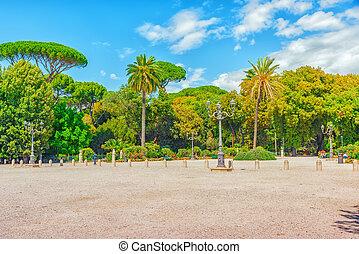 ROME, ITALY - MAY 08,2017 : Park near beautiful Villa Medici...