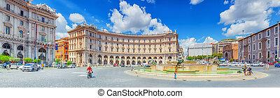 ROME, ITALY - MAY 10, 2017 : Republic Square (Piazza della Repubblica) and the  Fontana Esedra. Italy.