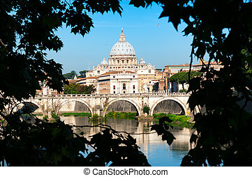 Rome, Italy - May 11, 2012 A framed picture of  St. Peter's Basilica, Ponte Sant Angelo and Tiber River in Rome - Italy.