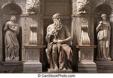 Rome, Italy. One of the most famous sculptures in the world - Moses by Michelangelo, located in San Pietro in Vincoli basilica.