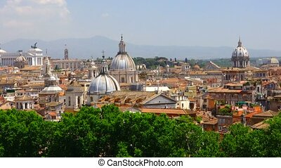 Rome Italy panorama. - Rome rooftop view with ancient...