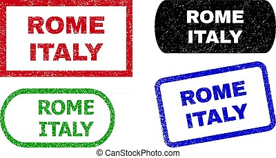 ROME ITALY Rectangle Seals with Grunged Style