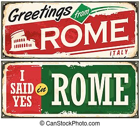 Rome Italy retro post card idea on old metal background