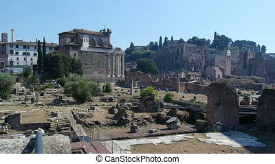 ROME, ITALY - SEPTEMBER 4, 2016. The the ruins of the Roman Forum at the center of the city of Rome