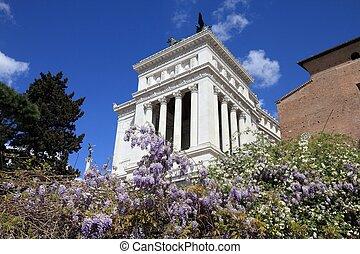 Rome, Italy - springtime architecture view with Vittoriano monument. Altare della Patria.