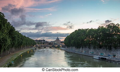 Rome, Italy: St. Peter's Basilica, Saint Angelo Bridge and...