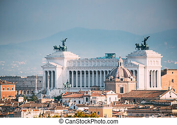 Rome, Italy. View Of Vittorio Emanuele Ii Monument Also Known Altar Of The Fatherland On Piazza Venezia