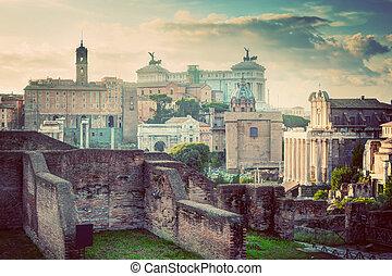 Rome, Italy vintage skyline. Roman Forum and Altare della ...
