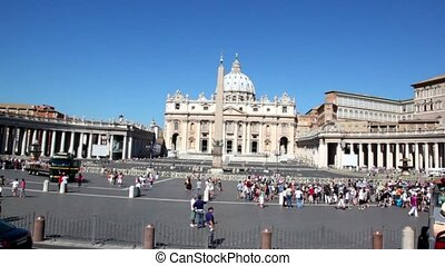 Saint Peters Cathedral in Vatican City State, view from moving bus
