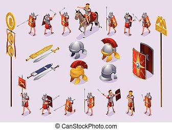 rome, legionaries, ancien, icônes, ensemble, romain, isométrique, fond, isolé