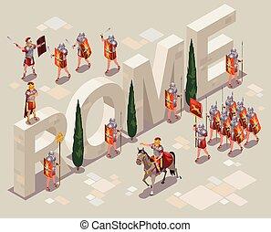 rome, legionaries, ancien, icônes, illustration, romain, isométrique, fond, isolé
