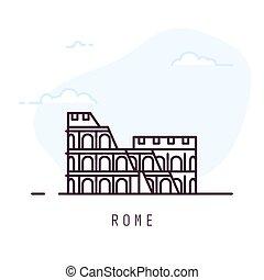 Rome line style colosseum