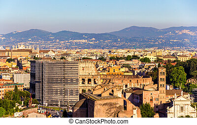 rome, luchtopnames, colosseum, aanzicht