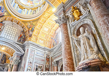 Interior of the Saint Peter Cathedral in Vatican - ROME - ...