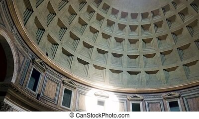 Rome Pantheon dome footage panning around the oculus showing...