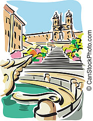 Illustration of the Piazza di Spagna in Rome