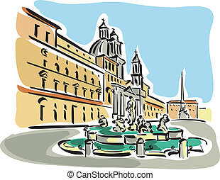 Rome (Piazza Navona) - Illustration of Piazza Navona in Rome