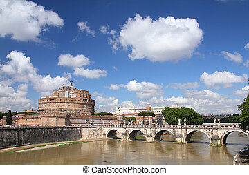 Rome, Italy. View of famous Castel Sant' Angelo and Sant'...