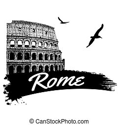Rome in vitage style poster, vector illustration
