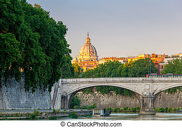 Rome. Quay along the Tiber at sunset.