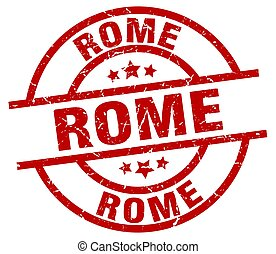Rome red round grunge stamp