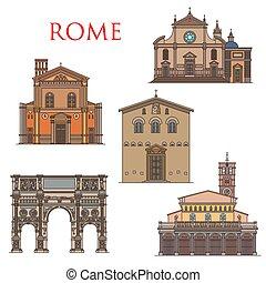 rome, repère, architecture, bâtiments, célèbre, italie