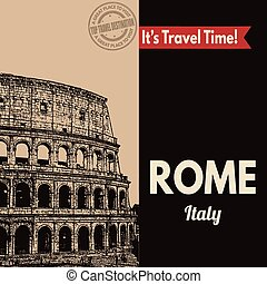 Rome, retro touristic poster
