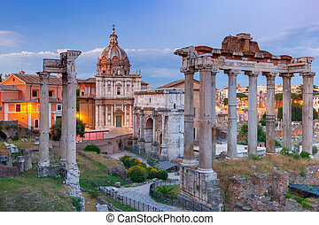 Rome. Roman Forum at sunset.
