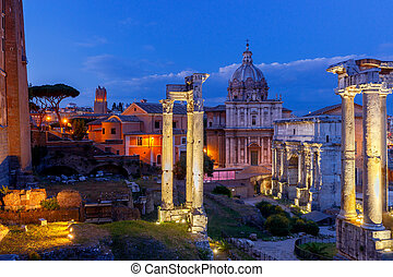 Rome. Roman Forum at sunset.