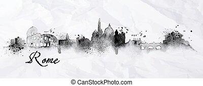 rome, silhouette, encre