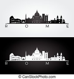 Rome skyline and landmarks silhouette, black and white...