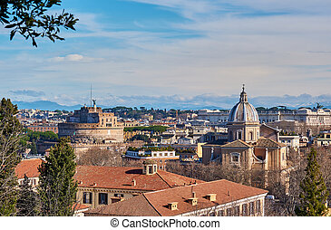 Rome skyline in Italy - Rome skyline view from Janiculum ...