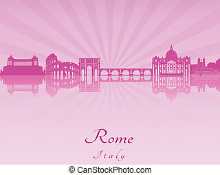 Rome skyline in purple radiant orchid